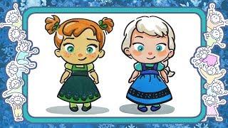 Холодное сердце  - Веселые раскраски - Как нарисовать малышек Анну и Эльзу - уроки рисования