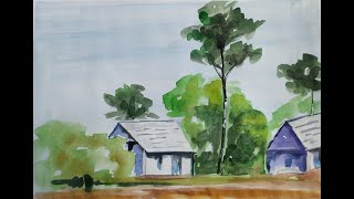 Rural Landscape - Huts and Trees | Easy Watercolor Painting Lesson for Beginners