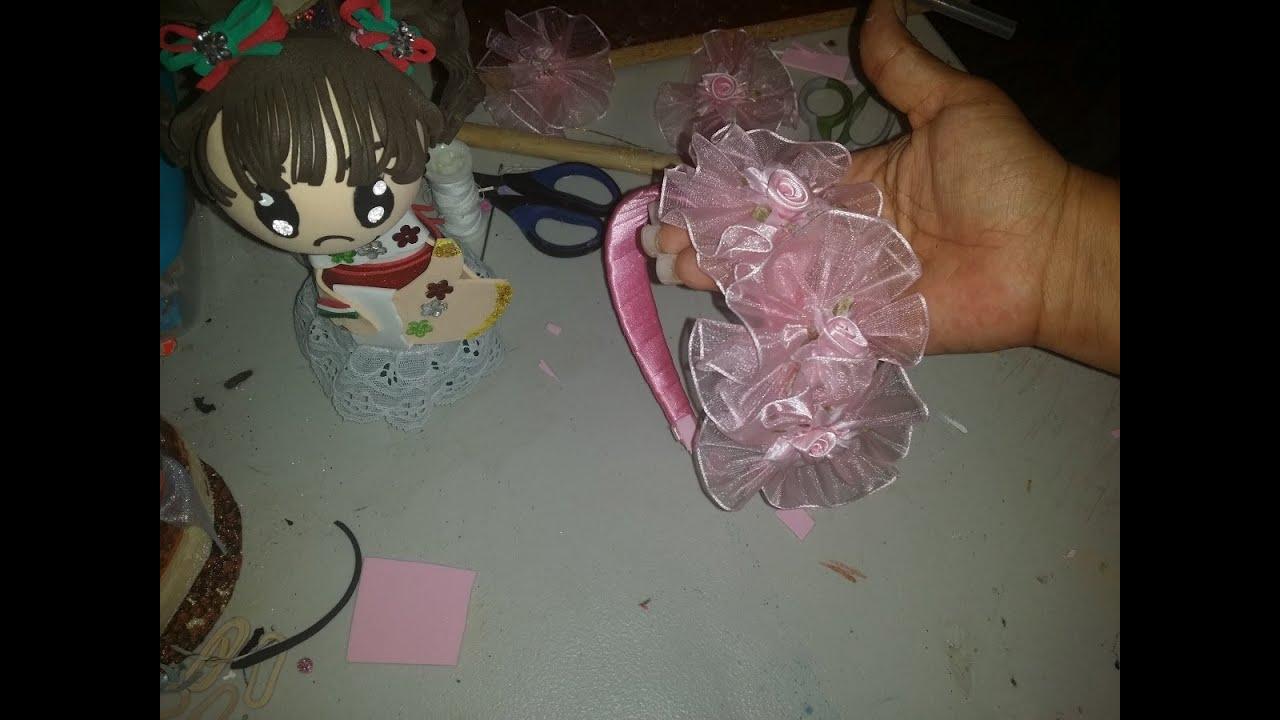 Diy como hacer diadema para ni a para ceremonia youtube for Hacer diademas nina