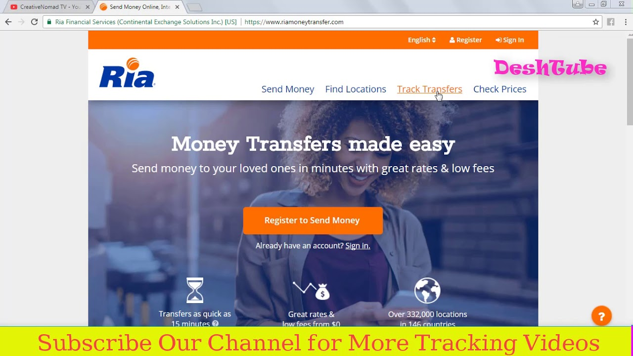 International Money Transfer Tracking Ria