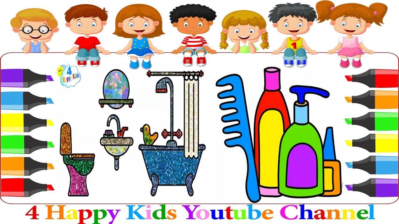 تعليم رسم ادوات الاستحمام والنظافة للاطفال تلوين رسم سهل وسريع