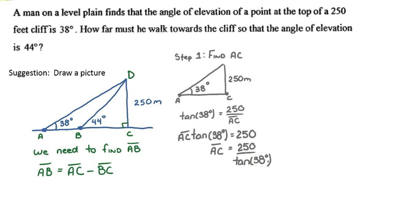 Primary Trigonometric Ratios Example Problem Youtube