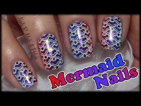 mermaid nails fischschuppen stamping nageldesign f r. Black Bedroom Furniture Sets. Home Design Ideas