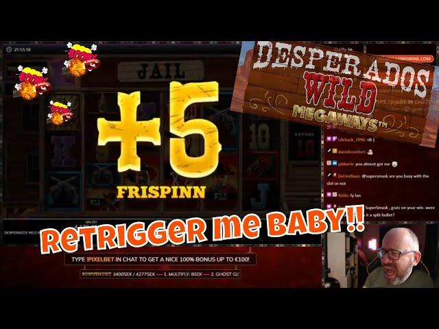 Retriggers in Desperados WILD Megaways!! Huge Win..