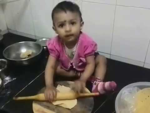 My Sweet Daughter Little baby Eiyaana making Roti !!  she is only 1 year old !!
