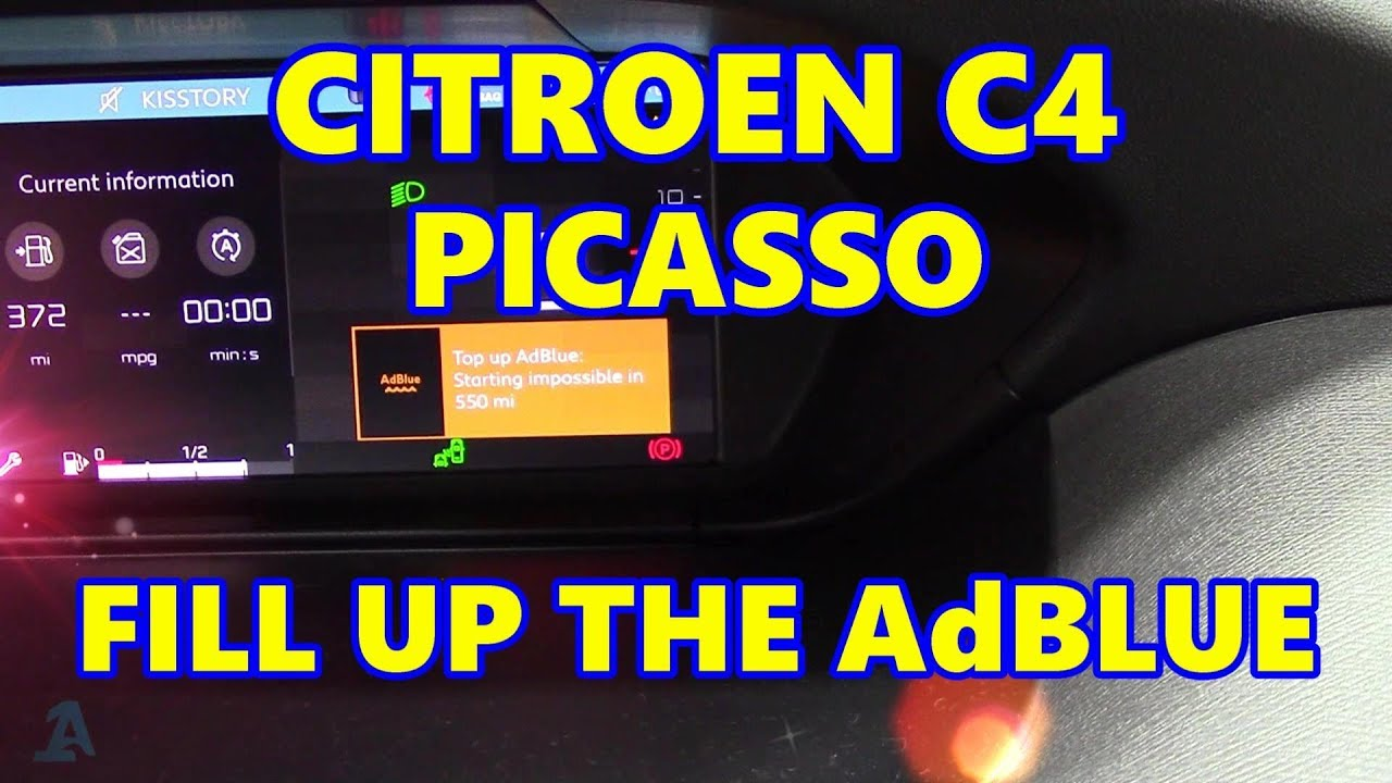 citroen c4 picasso fill up the adblue tank youtube. Black Bedroom Furniture Sets. Home Design Ideas