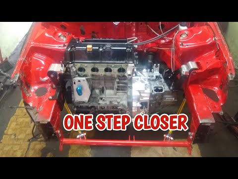 Engine and Tranny gets installed in the AWD Drag EG