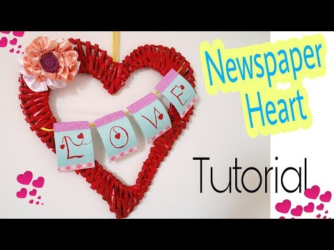 How to make Newspaper Heart || Beautiful Love Wall Hanging