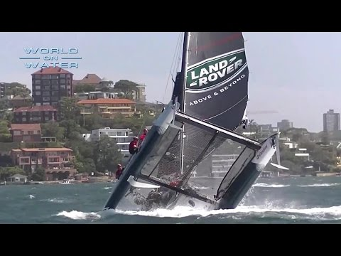 Pitchpoled! Land Rover BAR Nosedives on Sydney Harbour on the Extreme Sailing Series Day 1
