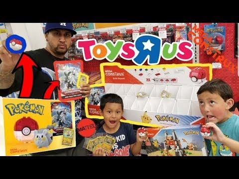 FREE TOYS & POKEMON CARDS AT TOYSRUS!! Shopping & Hunting For POKEMON DAY! NEW MEGA CONSTRUX SET!