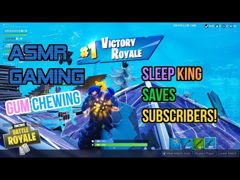 ASMR Gaming | Fortnite Sleep King Saves Subscribers! Gum Chewing 🎮🎧Controller Sounds + Whispering😴💤