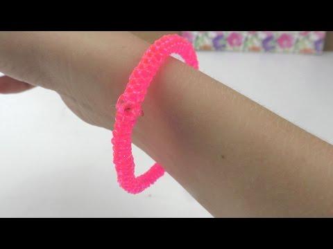 DIY Scoubidou Armband in Neonfarben Pink Glitzer / Neonarmband selber machen / Anleitung deutsch
