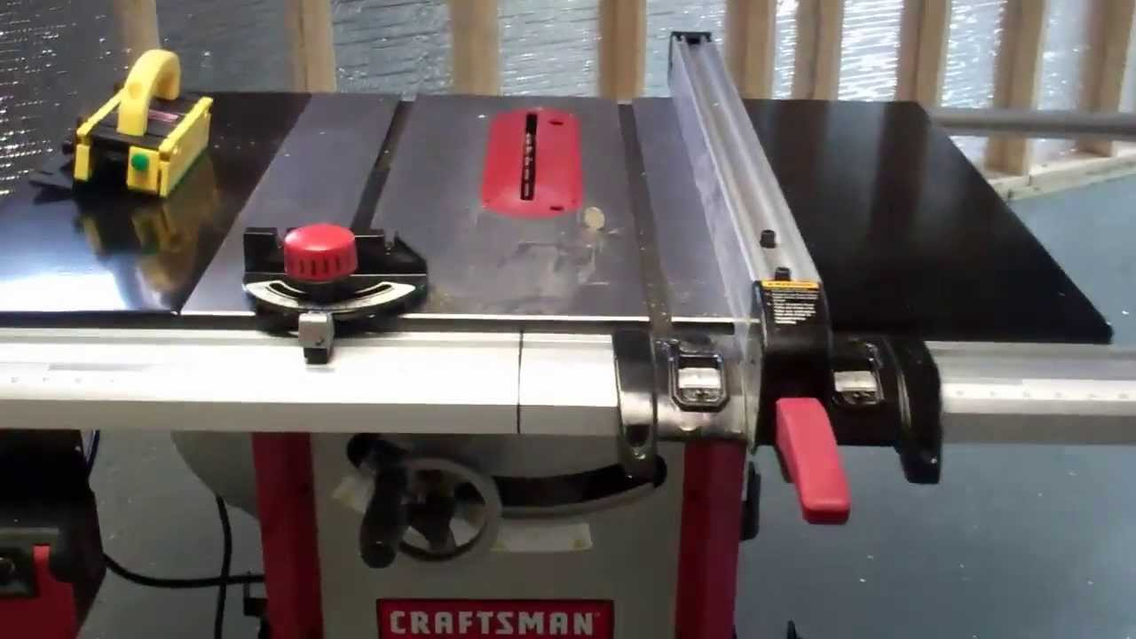 Just finished setting up my new Craftsman Table saw. - YouTube