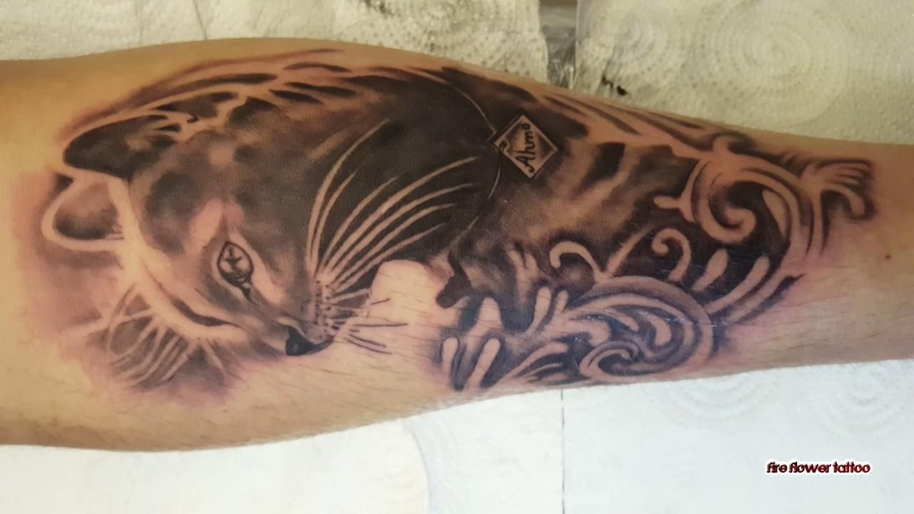 Cat Tattoo By Fire Flower Tattoo Youtube