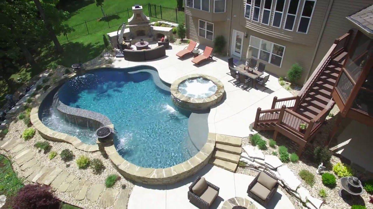 summer backyard escape baker pool construction stone by