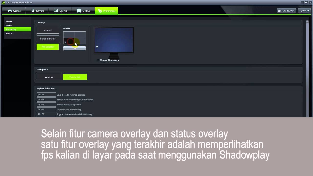 nvidia shadowplay overlay shortcut