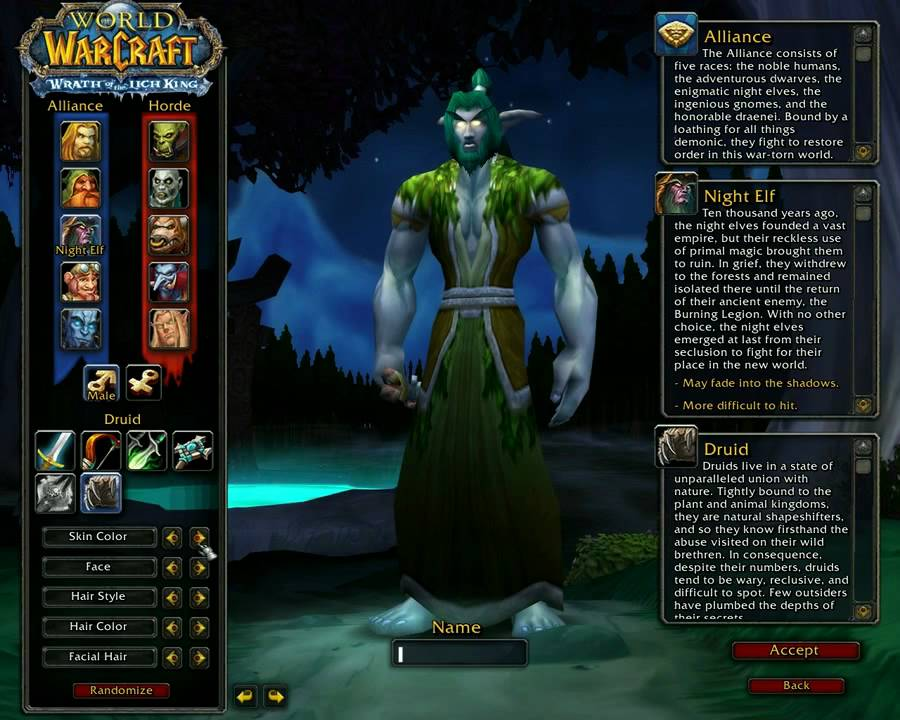 Wow Character Creation Night Elf Druid Youtube