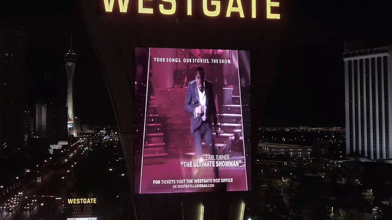 Clint Holmes and Earl Turner Marquee at the Westgate Hotel Drone Las Vegas 4K