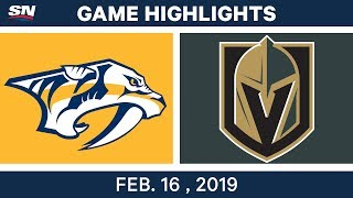 NHL Highlights | Predators vs. Golden Knights- Feb 16, 2019