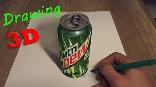 Drawing of MTN DEW Kickstart in 3D/ Speed Painting baja blast