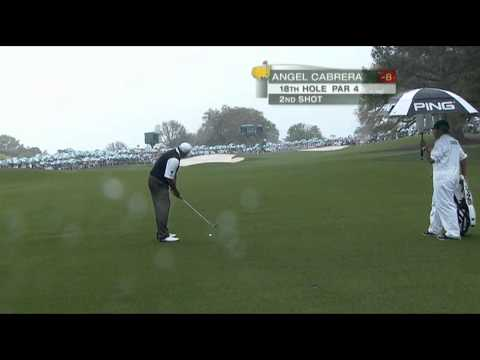 angel cabrera @  masters 2013 hits a perfect iron shot to force a play off