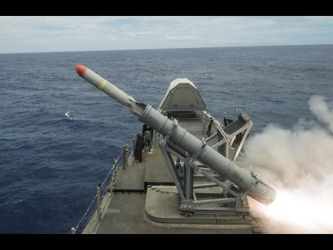 Harpoon anti-ship missile launch by USS Coronado (LCS 4)