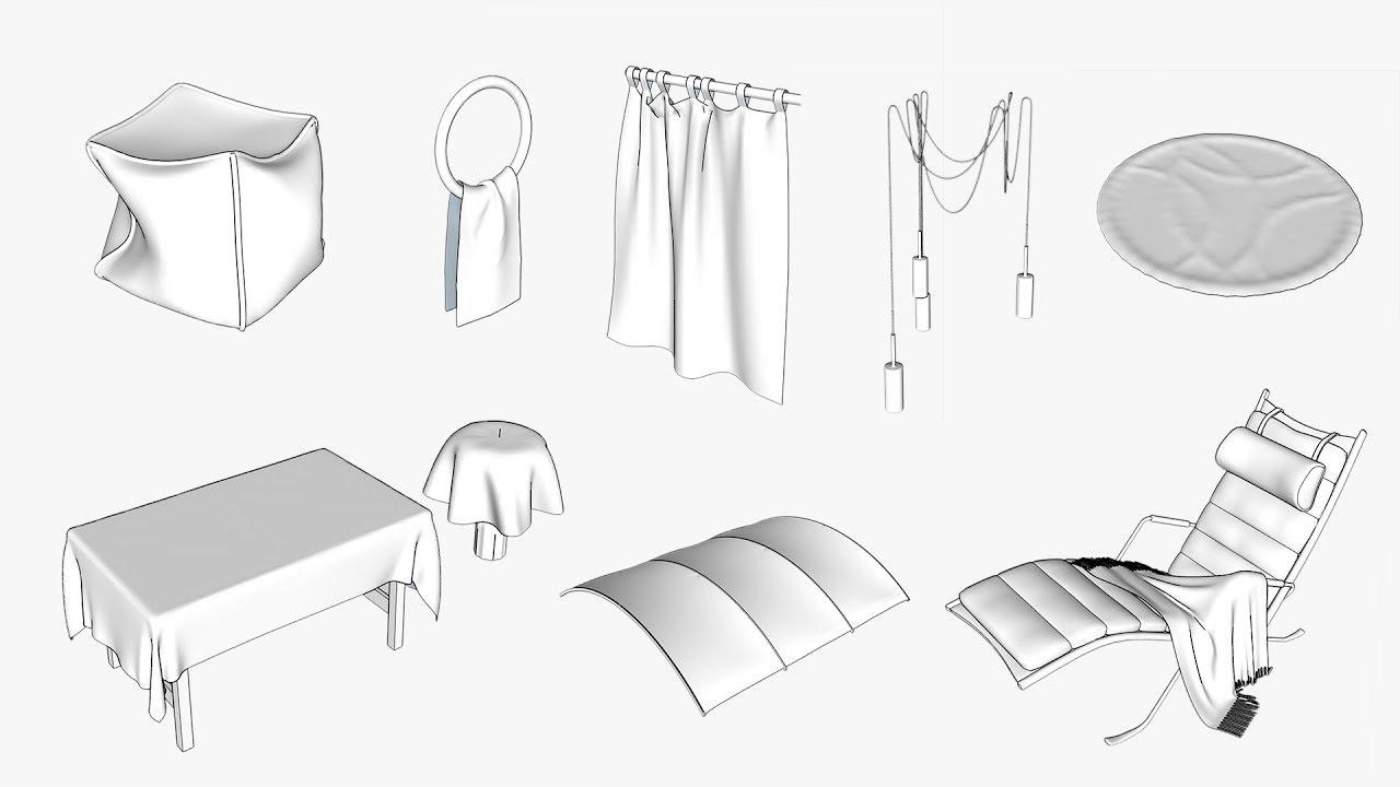 Sketchup - ClothWorks plugin - Sylumowanie tkanin | Zapowiedź kursu CG  Wisdom