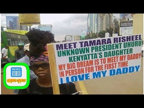 PHOTOS: Bold girl traverses Nairobi with poster saying she's President Uhuru's 'unknown daughter'