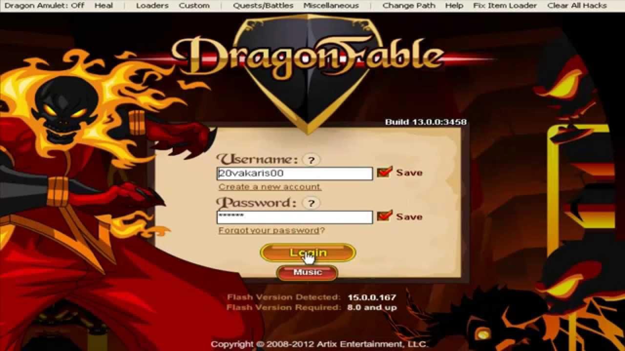 Dragonfable - DragonzRUs' SWF Trainer login fix (works 2014)