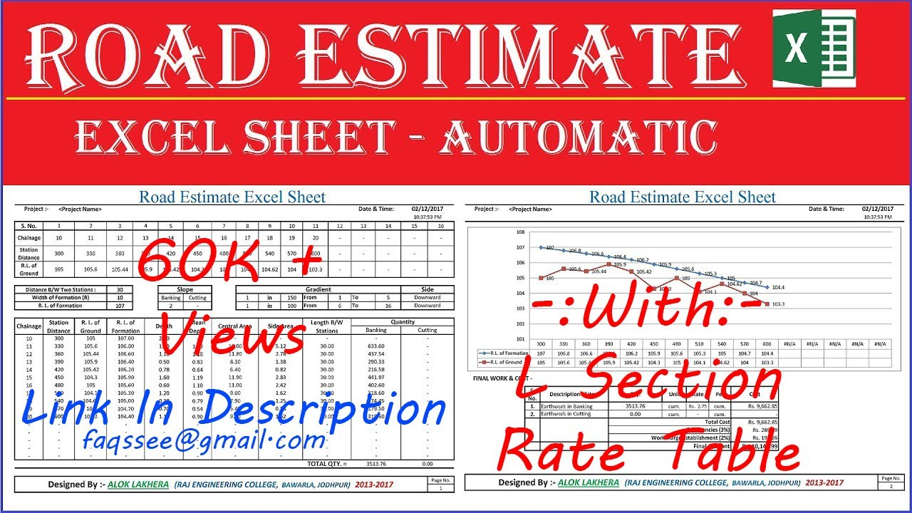 road estimate excel sheet estimate software automatic