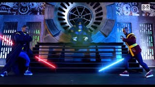 Cleveland Cavaliers and Golden State Warriors Duel in Star Wars Lightsaber Battle