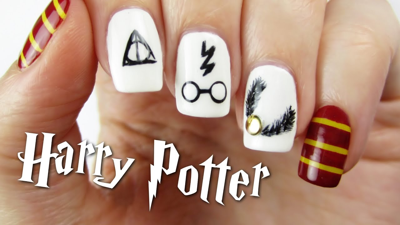Harry Potter Nail Art Design - YouTube