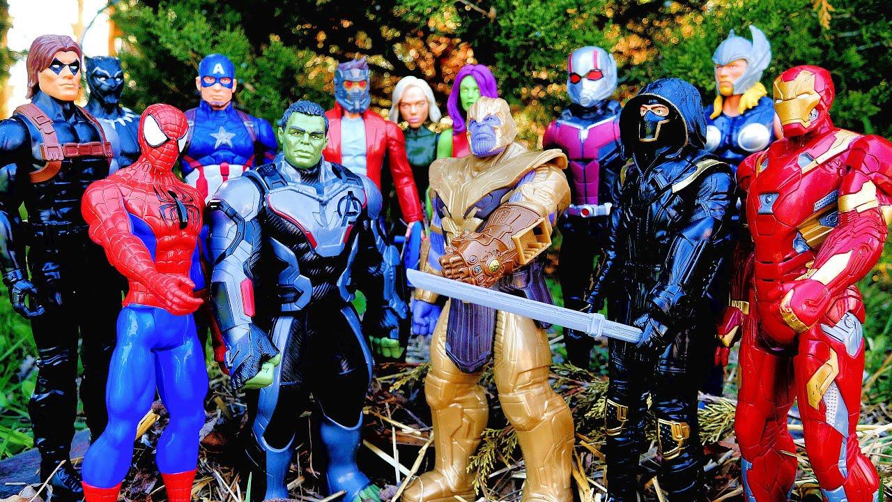 MARVEL AVENGERS vs THANOS + Spiderman, Hulk, Thor, Iron Man, Captain America, Black Panther, Ant-Man