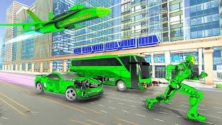 Army Bus Robot Transform Wars – Air Jet Robot Game Android Gameplay screenshot 2