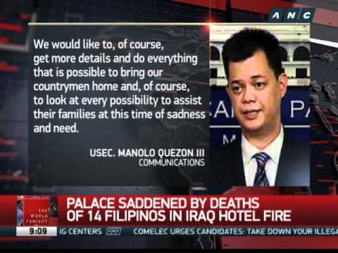 Palace assures help for kin of 14 OFWs killed in Iraq fire