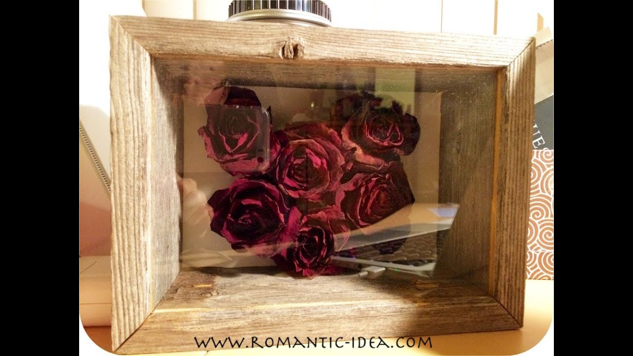 Dried Rose Heart 3d Craft In Shadow Box Frame Handmade