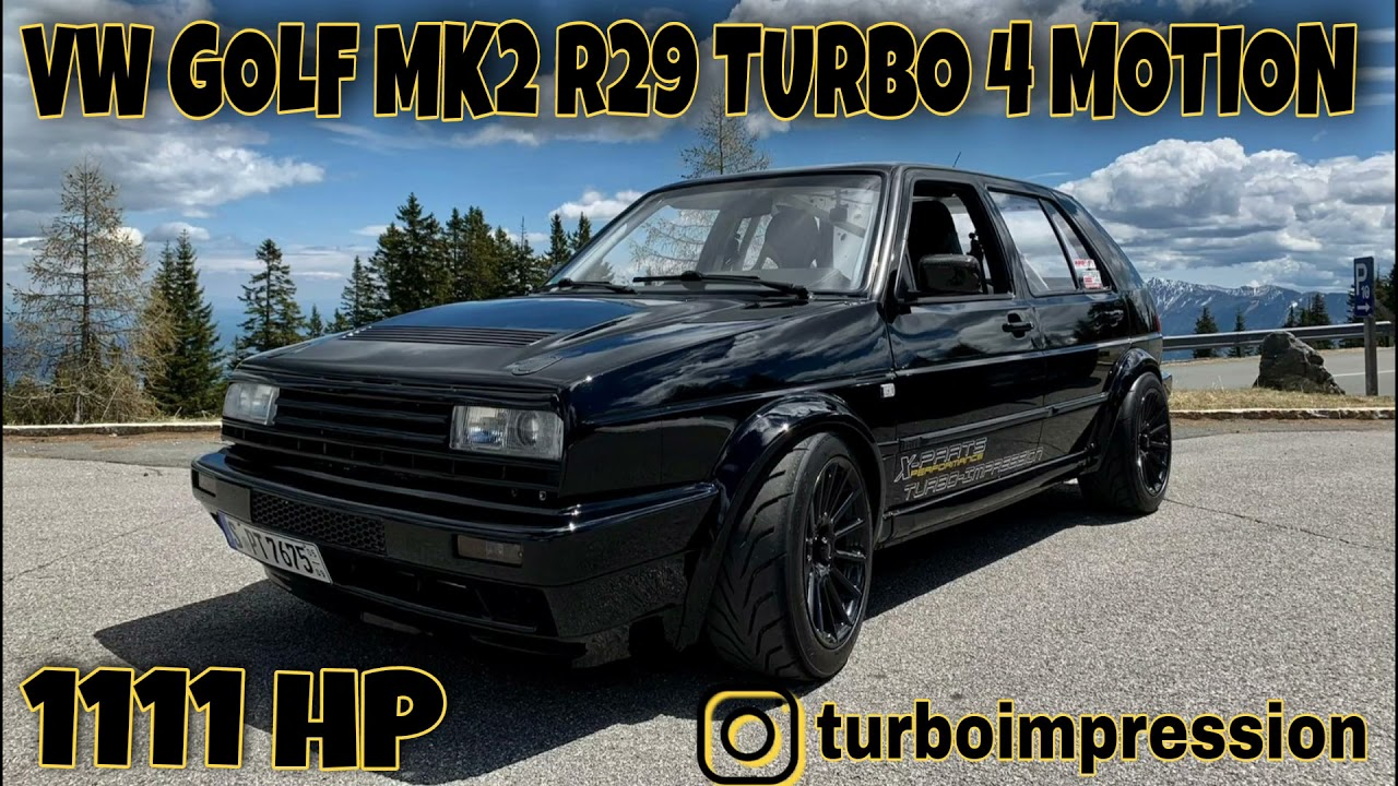 VW Golf MK2 R29 Turbo 4 Motion at Santa Pod 1/4 mile @dragy acceleration from 0-270 km/h