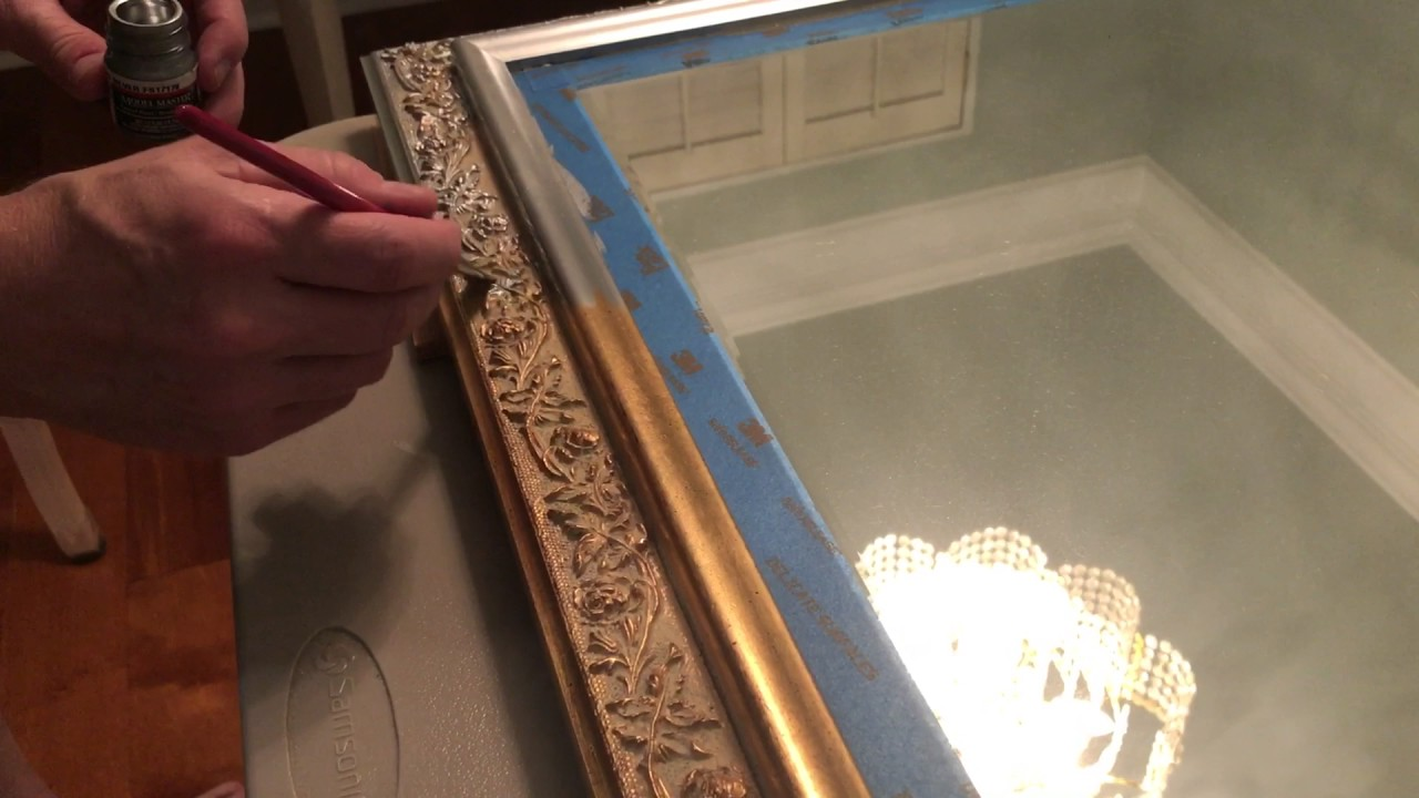 Painting a gold mirror frame - YouTube