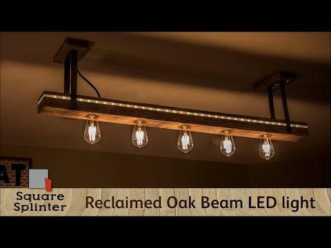 Rustic meets Modern | Reclaimed Oak Beam LED Light Fixture