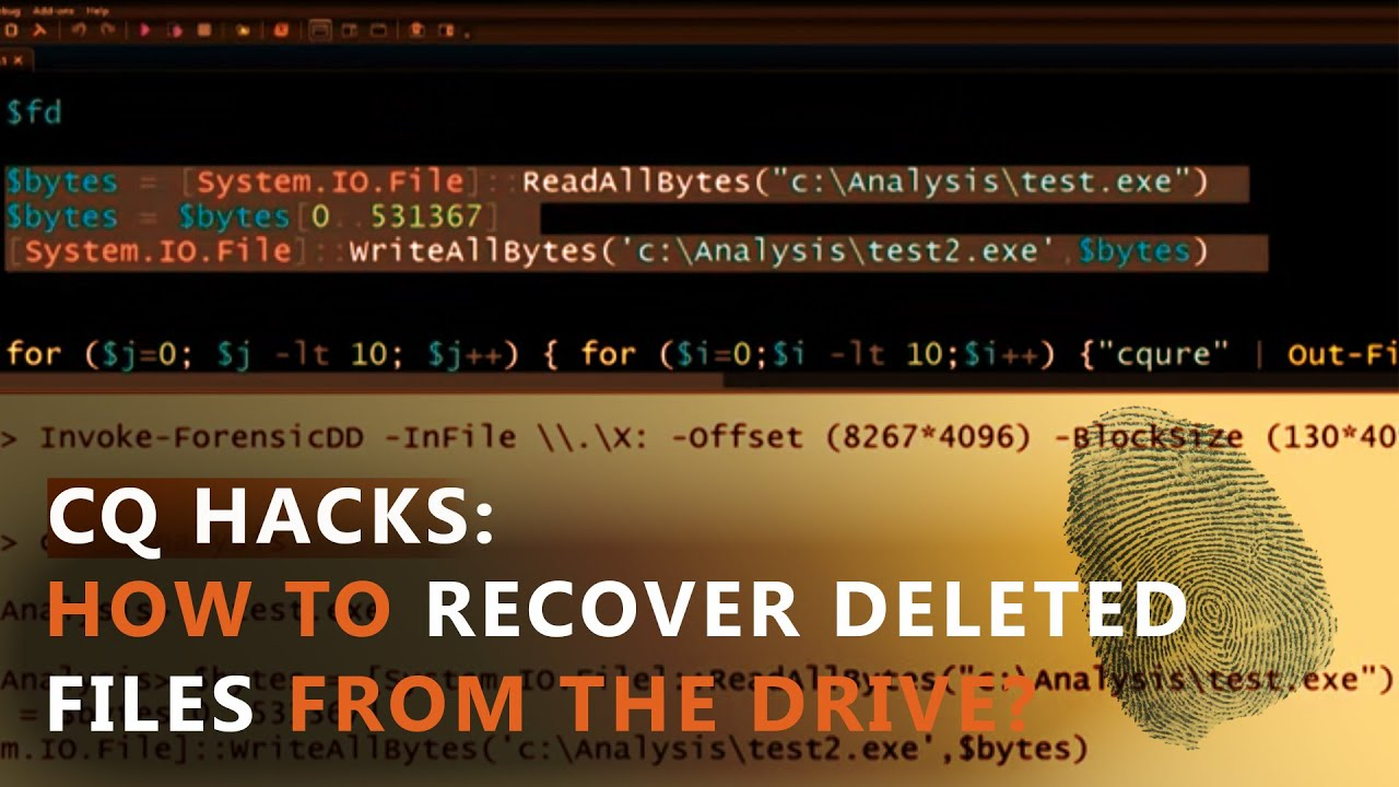 How to Recover Deleted Files from the Drive? | CQURE Academy