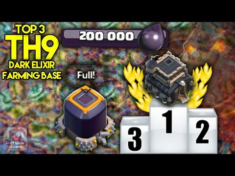 Top 3 TH9 [Town Hall 9] Dark Elixir Farming Bases For 2017! NEVER LOSE DARK ELIXIR! - Clash Of Clans
