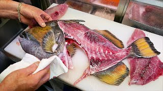 Japanese Street Food - GIANT FISH HEAD Cooked Two Ways Okinawa Seafood Japan