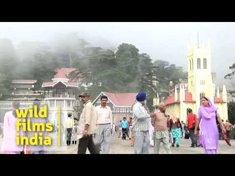 Busy Mall road in Shimla,  Himachal Pradesh
