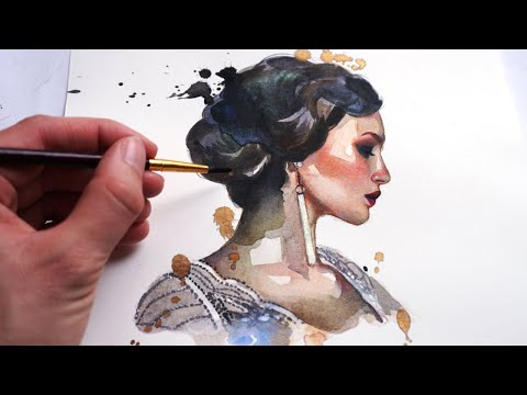 BEGINNER WATERCOLOR TUTORIAL: How To Paint A Portrait With Watercolors And Color Pencils!