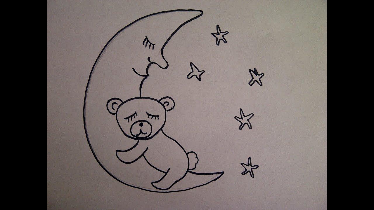 Cómo dibujar oso de peluche en la luna. Un dibujo para principiantes ...