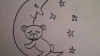 Cómo dibujar oso de peluche en la luna. Un dibujo para principiantes. Como desenhar urso de peluche