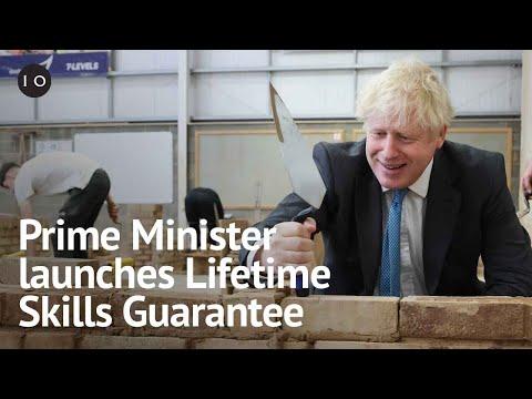 Prime Minister Boris Johnson Visits Exeter College To Launch Lifetime Skills Guarantee