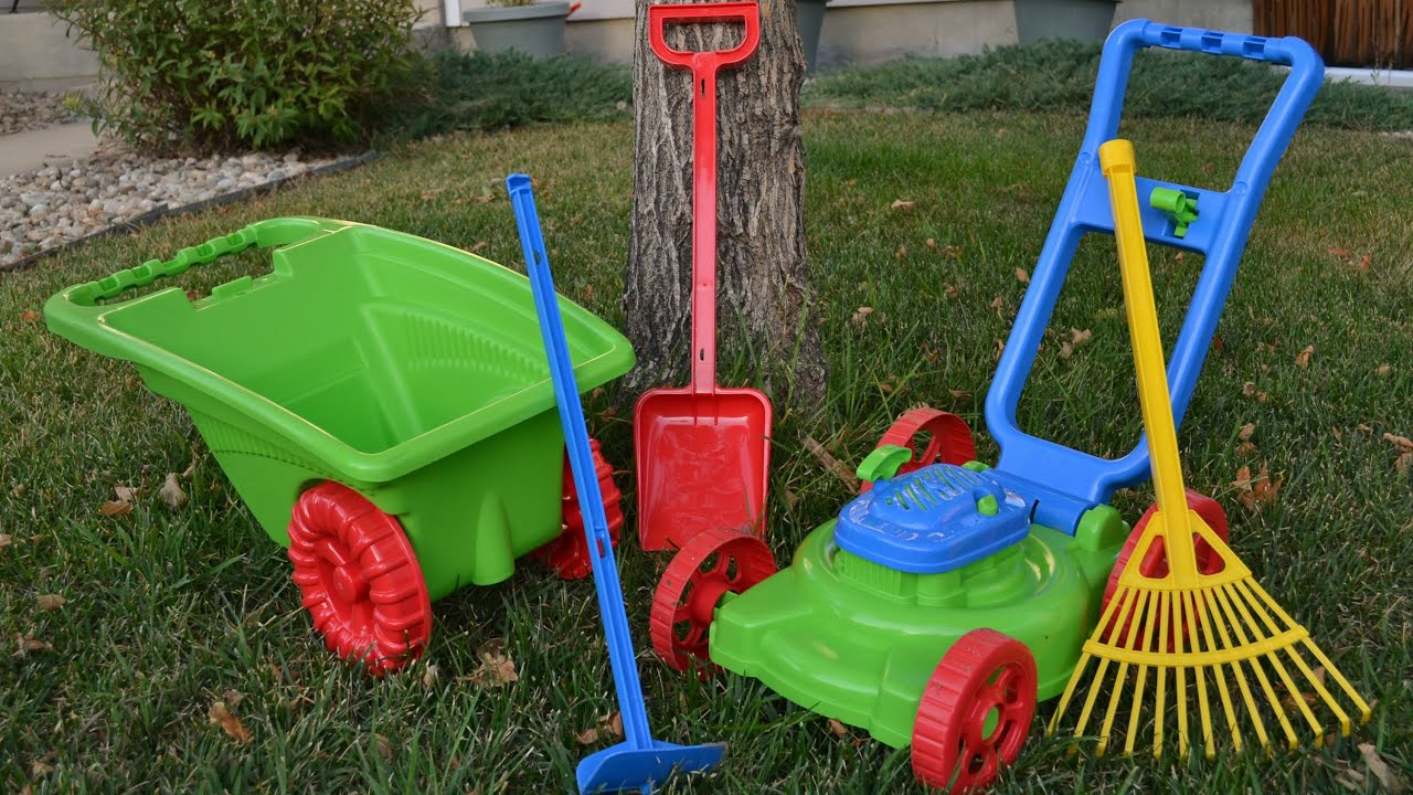 kids 5 piece gardener set plastic lawn mower wheelbarrow rake hoe shovel youtube