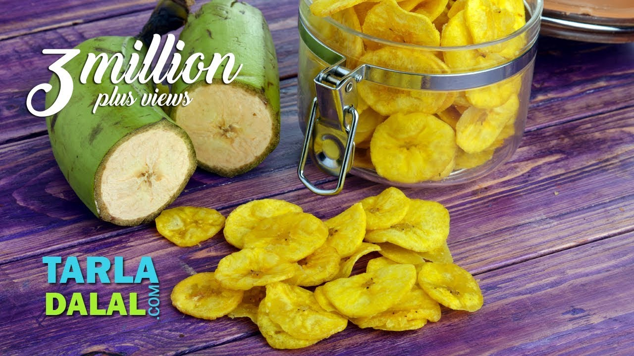 Yellow Banana Chips Wafers Raw By Tarla Dalal