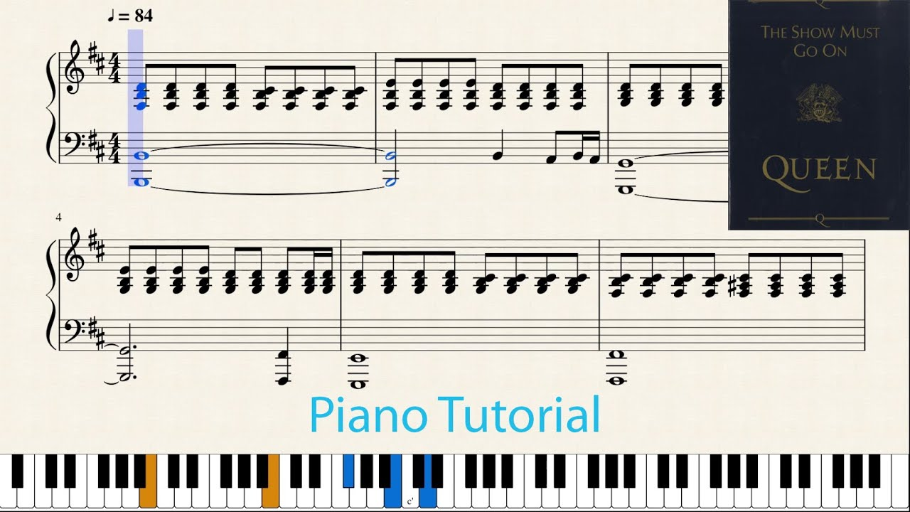 Show Must Go On Queen Piano Tutorial With Notes Musescore Youtube
